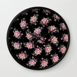 Pink Roses Dark Floral Pattern Wall Clock