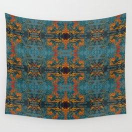 The Spindles- Blue and Orange Filigree  Wall Tapestry