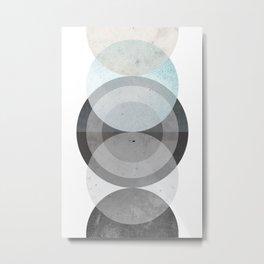Abstract Geometric Art - Blue Grey Minimal Metal Print