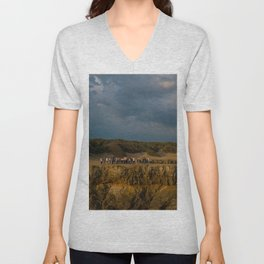 la mine france aerial drone shot cliff people sunset clouds goldenhour Unisex V-Neck