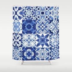 Indigo Watercolor Tiles Shower Curtain