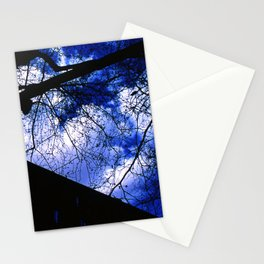 Urban maple tree in a winter evening with a city building and a cloudy sky Stationery Cards