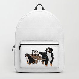 Family of Bernese Mountain Dogs with Wooden Wagon Backpack