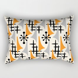 Mid Century Modern Atomic Wing Composition Orange & Gray Rectangular Pillow