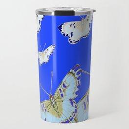PATTERN OF BLUE & WHITE BUTTERFLIES MODERN ART Travel Mug