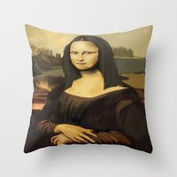 mona lisa Throw Pillows featuring Mona Lisa by Dano77