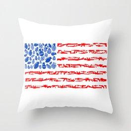 Westernized Weaponized Flag Throw Pillow