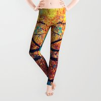 autumn Leggings featuring AutuMN Golden Leaves Teal Sky by 2sweet4words Designs