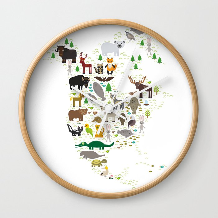 Map Of North America With Animals Bison Bat Manatee Fox Elk Horse Wolf Partridge Seal Polar Bear Wall Clock By Ekaterinap Society6