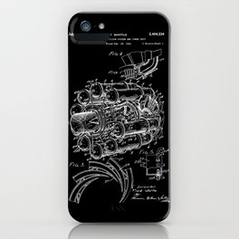 Jet Engine: Frank Whittle Turbojet Engine Patent - White on Black iPhone Case