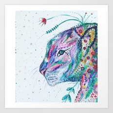 Tiger in the Garden Art Print