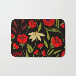 Floral embroidery Bath Mat