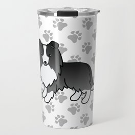 Bi-Black Shetland Sheepdog Dog Cartoon Illustration Travel Mug