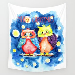 Two owls and a starry night Wall Tapestry
