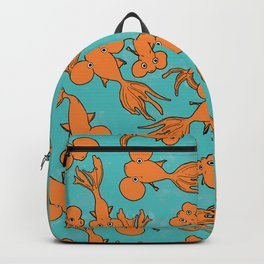 Orange Goldfish on Teal Backpack