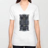 kindle V-neck T-shirts featuring Classic Old sherlock holmes 221b door iPhone 4 4s 5 5c, ipod, ipad, tshirt, mugs and pillow case by Three Second