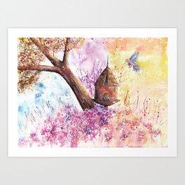 Birdhouse Art Illustration Art Print