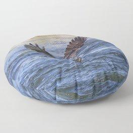 Watercolor Bird, Osprey 14, Yellowstone, Wyoming Floor Pillow