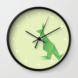 I Want Chocolate - Origami Green Kangaroo Wall Clock