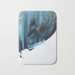 A Minimal Sapphire and Gold Abstract piece in blue white and gold by Alyssa Hamilton Art  Bath Mat