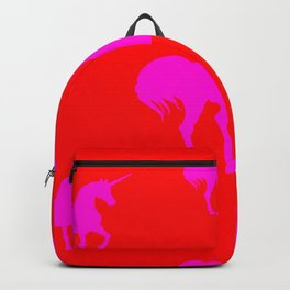 Pink Unicorns on Red Backpack