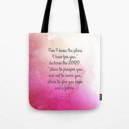 Jeremiah 29:11, Encouraging Bible Verse Tote Bag