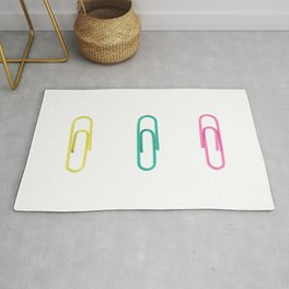 Three Colored Isolated Paper Clips Rug