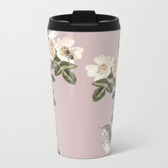 Birds and the Bees Pink Berry Metal Travel Mug