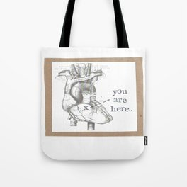 You Are Here Anatomy Heart Tote Bag