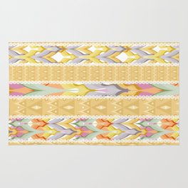 Yellow striped patchwork . Rug