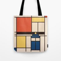 mondrian Tote Bags featuring Mondrian Who by Perdita