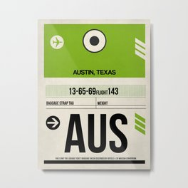 AUS Austin Luggage Tag 1 Metal Print