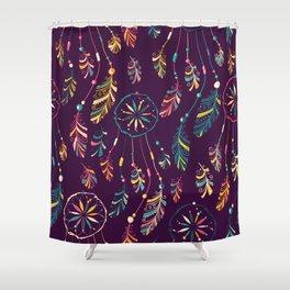 Bohemian Purple Dream Catcher Pattern Shower Curtain