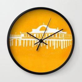 Seaside Pier in Yellow Wall Clock