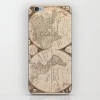 map of the world iPhone & iPod Skins featuring World Map by Le petit Archiviste