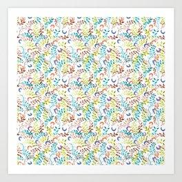 twigs&flowers_white_ramas y flores Art Print