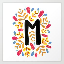 Letter 'M' Initial/Monogram With Bright Leafy Border Art Print