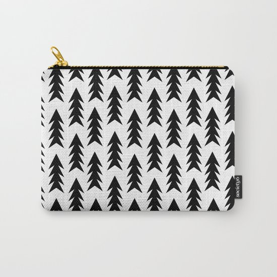 Trees - black and white modern minimal camping nature wanderlust hipster vintage retro classic natur Carry-All Pouch