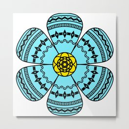 Hippie Geometric Flower Metal Print