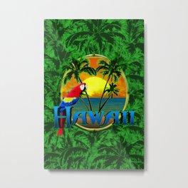 Hawaiian Sunset And Palm Trees Metal Print