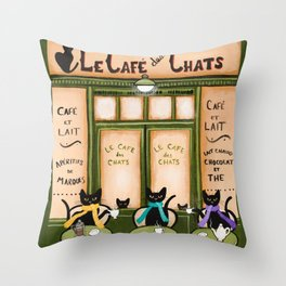 Les Cafe des Chats Throw Pillow
