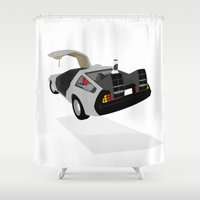 delorean Shower Curtains featuring Delorean (The 2015 Collection) by Cal Chan