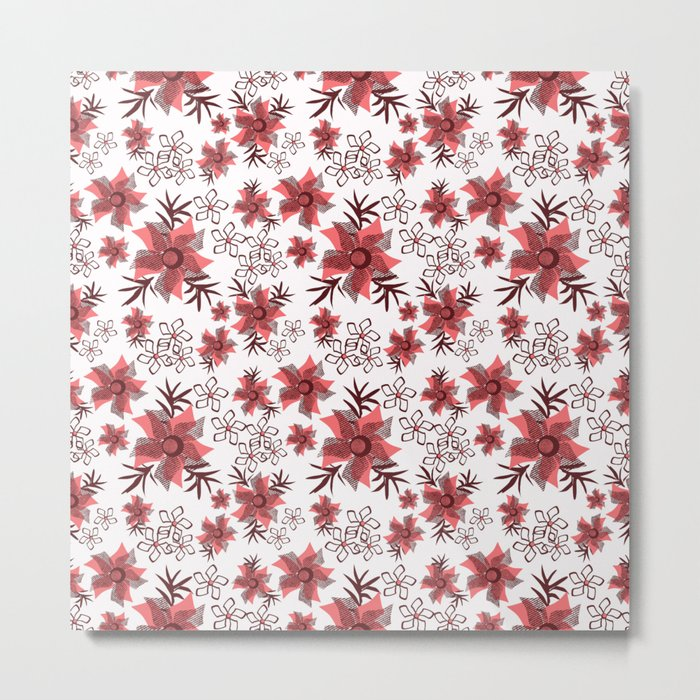 Red flowers on a white background. Metal Print