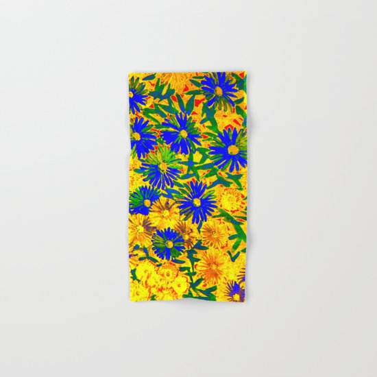blue flowers by a sunny day Hand & Bath Towel