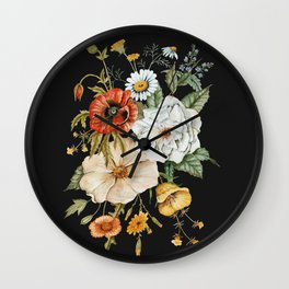 Wildflower Bouquet on Charcoal Wall Clock