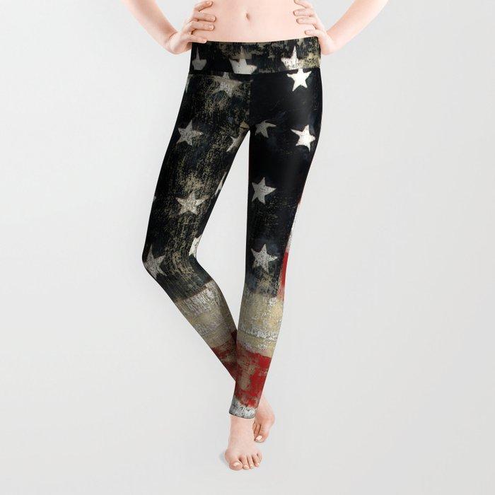a891b0e9349023 USA Flag ~ American Flag ~ Distressed Pattern ~ Ginkelmier Inspired Leggings