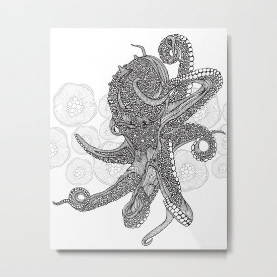 Octopus Bloom black and white Metal Print