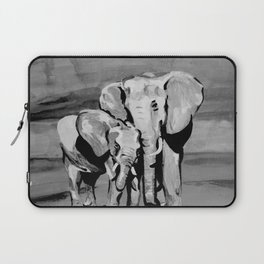 Black and white mother and baby elephant Laptop Sleeve