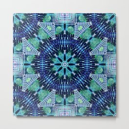 Blue and Green Kaleidoscope Metal Print