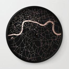 London Black on Rosegold Street Map Wall Clock